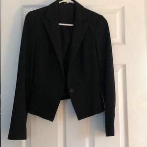 One button black blazer with peplum at back sz 2